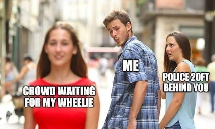 Pulling wheelies on the road bike