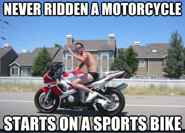 Newb with no gear on a sportsbike