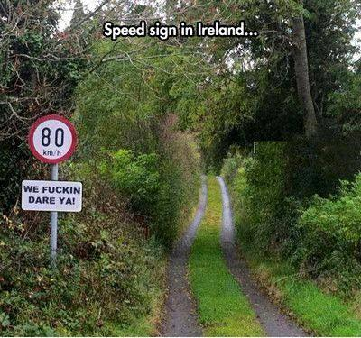 Irish speed sign